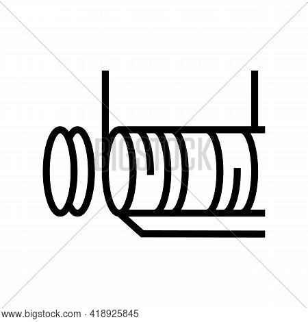 Cutting Semiconductor Manufacturing Line Icon Vector. Cutting Semiconductor Manufacturing Sign. Isol