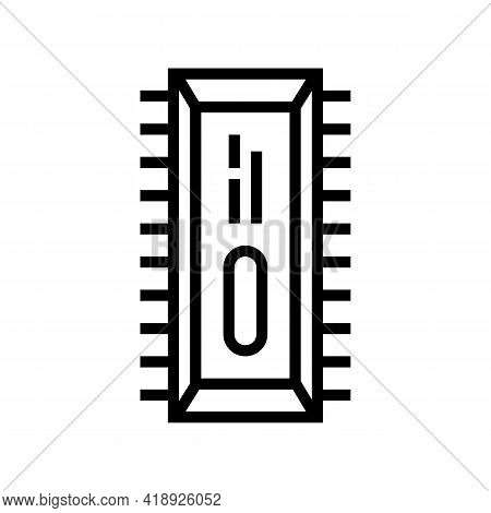 Microchip Semiconductor Manufacturing Line Icon Vector. Microchip Semiconductor Manufacturing Sign.