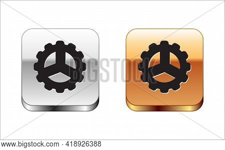 Black Bicycle Sprocket Crank Icon Isolated On White Background. Silver-gold Square Button. Vector