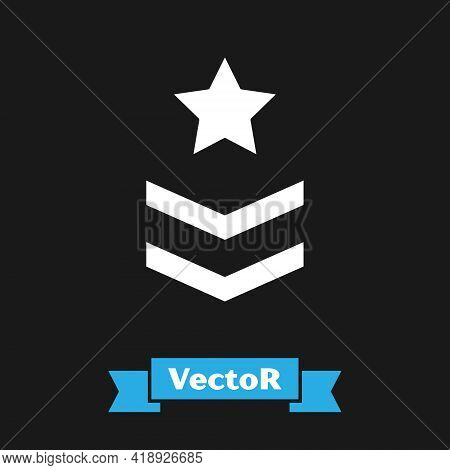 White Military Rank Icon Isolated On Black Background. Military Badge Sign. Vector