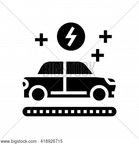 Manufacturing Electric Car Glyph Icon Vector. Manufacturing Electric Car Sign. Isolated Contour Symb