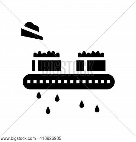 Draining Cheese Production Glyph Icon Vector. Draining Cheese Production Sign. Isolated Contour Symb
