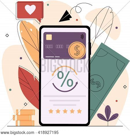 Smartphone With A Bank Card And Coins On The Screen.cash Back Service,return Money From Purchases,sa