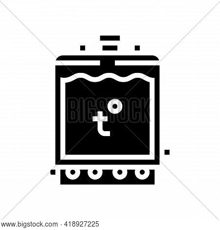 Warming Tank For Preparing Cheese Glyph Icon Vector. Warming Tank For Preparing Cheese Sign. Isolate