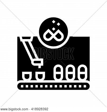 Filling Pharmaceutical Production Glyph Icon Vector. Filling Pharmaceutical Production Sign. Isolate
