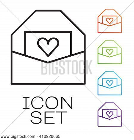 Black Line Envelope With Valentine Heart Icon Isolated On White Background. Message Love. Letter Lov