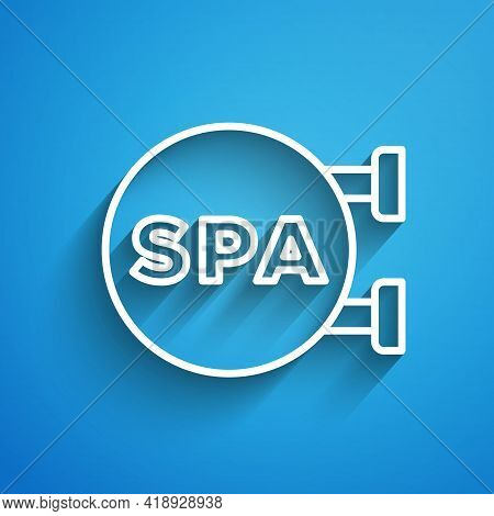 White Line Spa Salon Icon Isolated On Blue Background. Concept For Beauty Salon, Massage, Cosmetic.