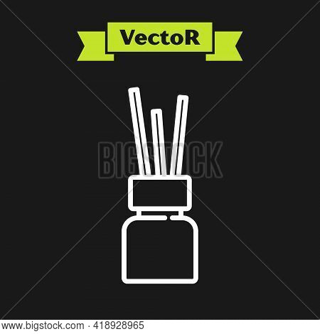 White Line Aroma Diffuser Icon Isolated On Black Background. Glass Jar Different With Wooden Aroma S