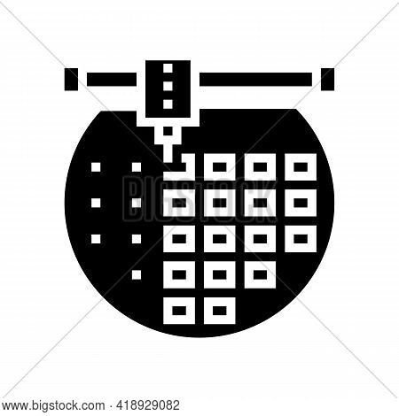 Installing Semiconductor On Board Glyph Icon Vector. Installing Semiconductor On Board Sign. Isolate