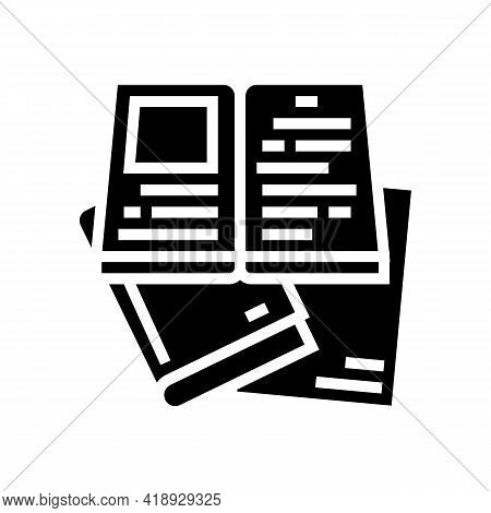 Reading Books Leisure Glyph Icon Vector. Reading Books Leisure Sign. Isolated Contour Symbol Black I