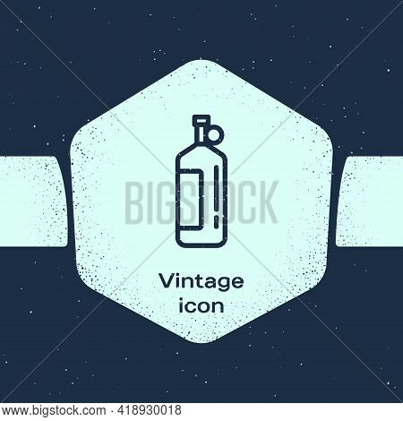 Grunge Line Aqualung Icon Isolated On Blue Background. Oxygen Tank For Diver. Diving Equipment. Extr