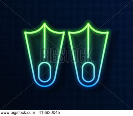 Glowing Neon Line Rubber Flippers For Swimming Icon Isolated On Blue Background. Diving Equipment. E