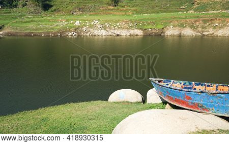 Markhu Kulekhani Reservoir In Nepal, Domestic Resort, Travelling In Nepal, Mountains And Boat On The