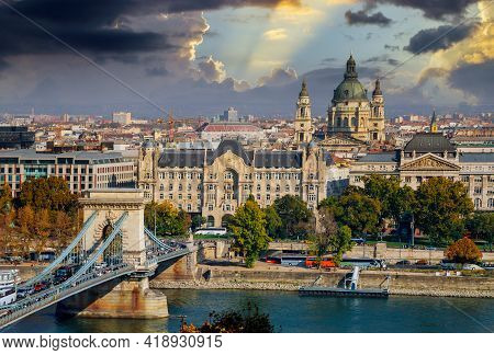 View Of The Tower Chain Secheni Bridge Rooftops Of The Historic Old Town Of Budapest From Fisherman