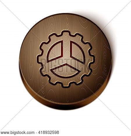 Brown Line Bicycle Sprocket Crank Icon Isolated On White Background. Wooden Circle Button. Vector