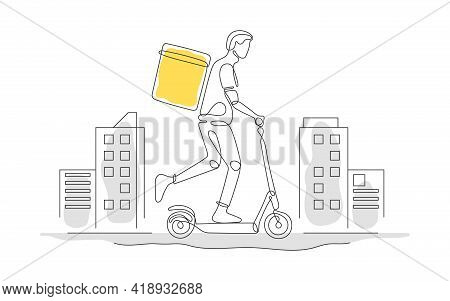 Delivery. Online Delivery Service. Delivery Home And Office. One Line Art. Delivery Man On Electric