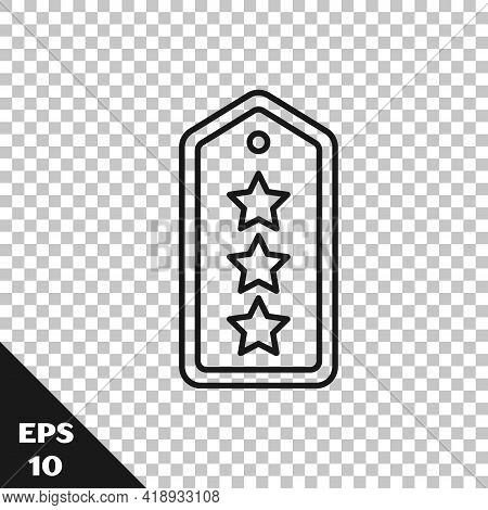Black Line Military Rank Icon Isolated On Transparent Background. Military Badge Sign. Vector