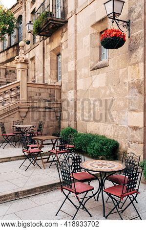Street Cafe In The Spanish Village In Barcelona.