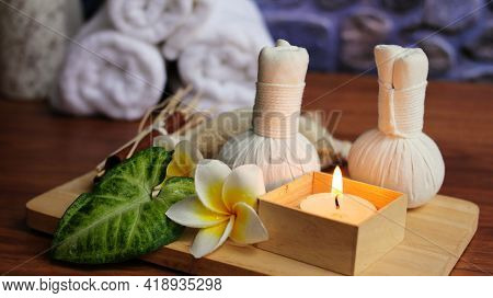 Spa Candles With Towels,spa Accessories,beautiful Composition Of Spa , Spa Relax Concept,  Herbs For