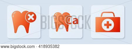 Set Calcium For Tooth, Tooth With Caries And First Aid Kit. White Square Button. Vector