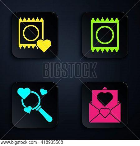 Set Envelope With Valentine Heart, Condom In Package, Search Heart And Love And Condom In Package. B