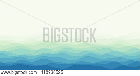 Abstract Waves Cover. Horizontal Background With Curves In Green Blue Colors. Classy Vector Illustra