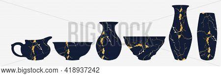 Repaired Japan Vase Kintsugi Art Color Sketch Engraving Illustration. Scratch Board Style Imitation.