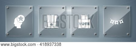 Set Carnival Garland With Flags, Vote Box, Patriotic American Top Hat And Usa Head. Square Glass Pan