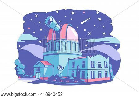 Observatory Building With Telescope Vector Illustration. Stars