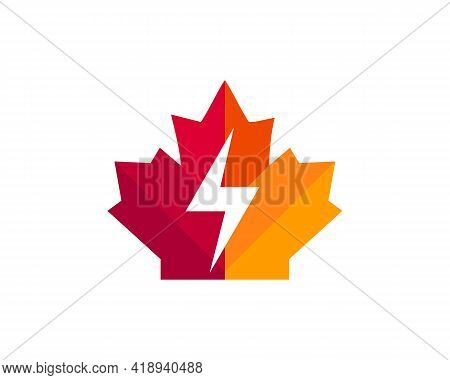 Maple Power Logo Design. Canadian Power Logo. Red Maple Leaf With Power Vector