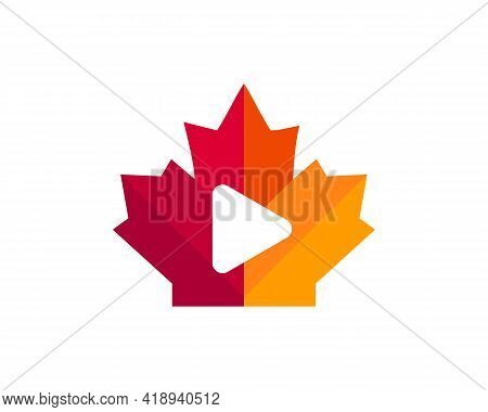 Maple Play Logo Design. Canadian Play Logo. Red Maple Leaf With Play Button Vector