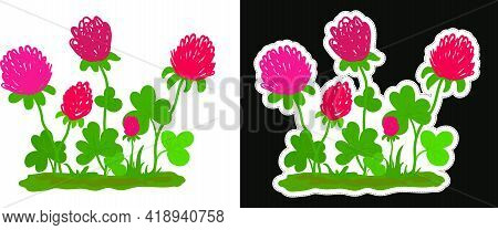 Stylized Pink Clover Flowers. Children's Illustration And Sticker.
