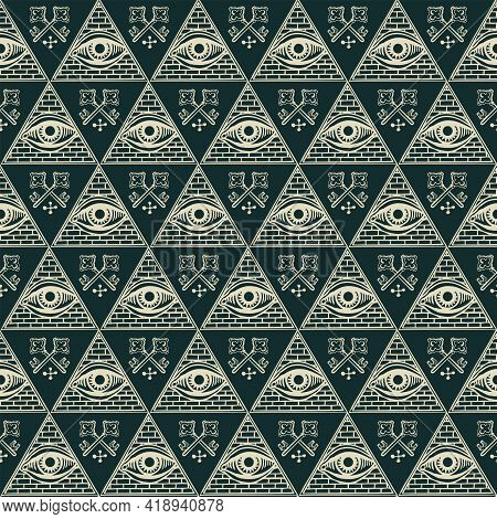 Vector Seamless Pattern With An All-seeing Eye And Old Crossed Keys On A Black Backdrop. A Hand-draw