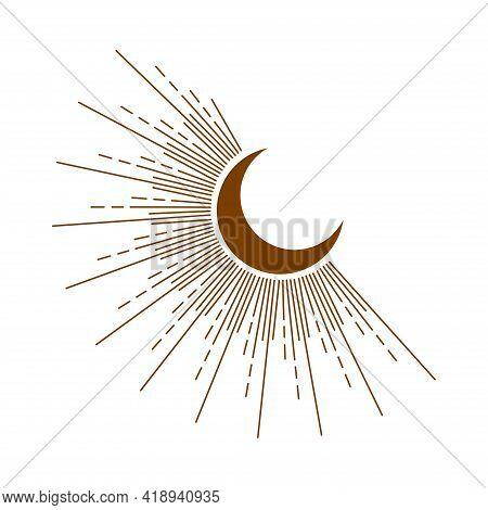 Pastel Trendy Shades Phases Of The Moon, Magic Astrology And Boho. Magic Concept, Minimalism, Trendi