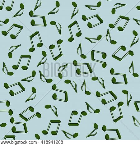 Seamless Abstract Background Of Green Music Notes On A Blue Background For Interior Decoration, Musi
