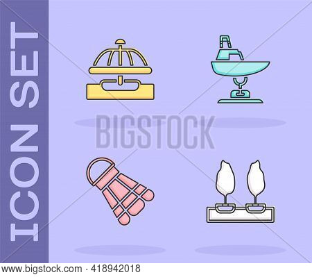 Set Forest, Attraction Carousel, Badminton Shuttlecock And Swing Boat Icon. Vector