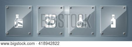 Set Wine Bottle, Whiskey And Glass, Glass Of Whiskey And Beer Beer Can. Square Glass Panels. Vector
