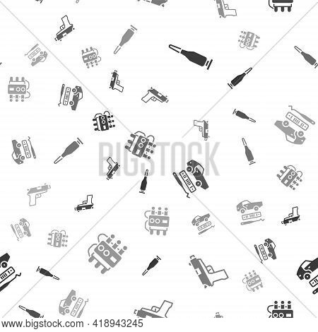 Set Bullet, Pistol Or Gun, Car Theft And Dynamite And Timer Clock On Seamless Pattern. Vector