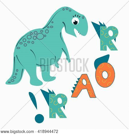 Cute Snarling Tyrannosaurus. Illustration For Children With Text