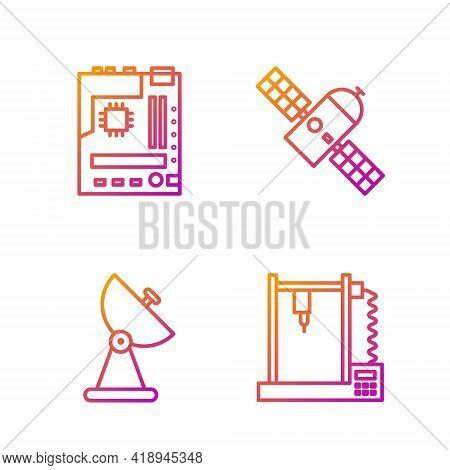 Set Line 3d Printer, Radar, Motherboard And Satellite. Gradient Color Icons. Vector