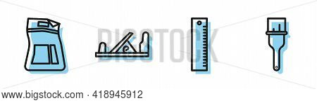 Set Line Ruler, Cement Bag, Wood Plane Tool And Paint Brush Icon. Vector