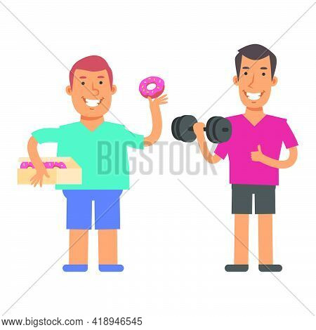 Fat Man Holding Donut And Smiling. Slim Man Holding Dumbbell And Showing Thumbs Up. Vector Character