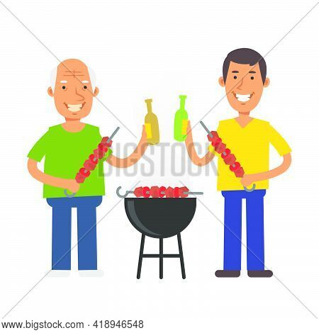 Old Man Holding Barbecue And Beer. Young Man Holding Barbecue And Beer. Vector Characters. Vector Il