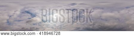 Overcast Sky Panorama On Sunset With Cumulus Clouds In Seamless Spherical Equirectangular Format As
