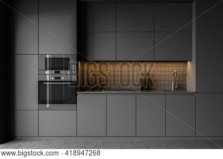 Dark Grey Minimalist Kitchen Set With Appliances And Shelves, Front View. Grey Luxury Kitchen With O