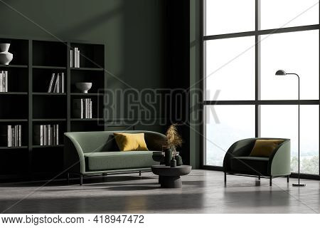 Modern Living Room Interior With Concrete Floor, Furniture, Table And Sofa And Armchair, Living Spac