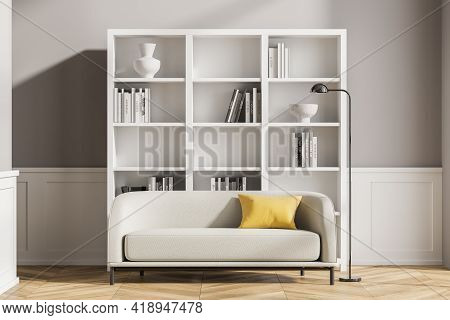Modern Living Room Interior With Wooden Floor, Furniture, Table And Sofa, Living Space, Panoramic Wi
