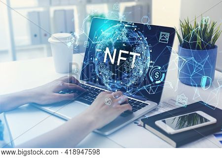 Businesswoman Hands On Keyboard Of Laptop, Non-fungible Token Hud Double Exposure, Nft With Earth Gl