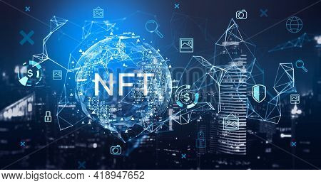 Non-fungible Token Hologram On Virtual Screen, Nft With Network Circuit And Globe. Downtown Cityscap