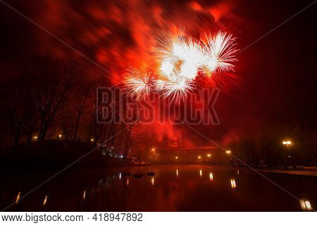 A Crowd Of People Came To The Festival, A Festival Of Fireworks, Explosions Of Pyrotechnic Charges,